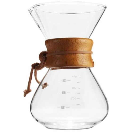 COFFEE POT GLASS WITH WOOD NECK SMALL