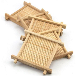 عدد 6 صحون خشبية من البامبو مع قاعدة